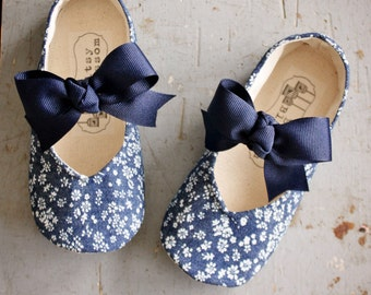 Toddler Girl Shoes Baby Shoes Infant Shoes Soft Sole Shoes Spring Shoes Summer Shoes Denim Shoes Floral Shoes Easter Shoes Navy Blue-Fleur