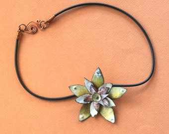 Yellow Whimsey Copper Enameled Pendant