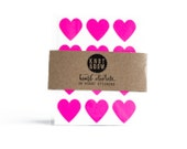 36 Neon Pink Heart Stickers / FREE SHIPPING