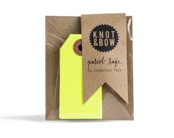 Neon Yellow Parcel Gift Tags / Set of 10