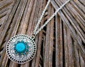 Ethnic Bohemian Turquoise Necklace Ornate Filigree Tribal Necklace