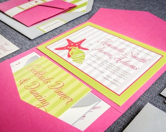 "Pink and Lime Green Wedding Invitations, Beach Wedding Invites, Preppy and Chic - ""Starfish & Shell"" Pocketfold, No Layers, v1 - SAMPLE"
