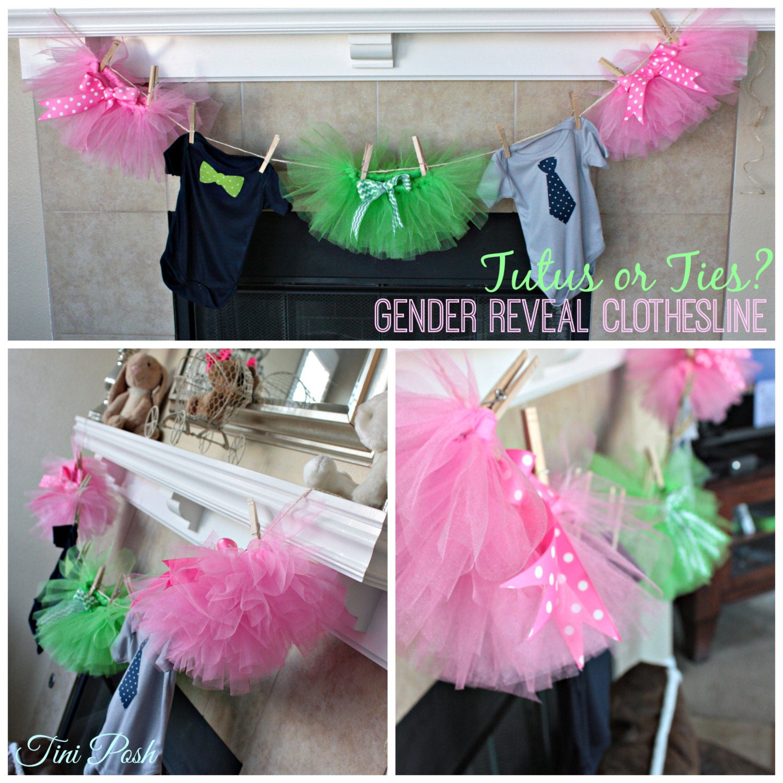 Tutus Amp Ties Gender Reveal Or Surprise Baby Shower Clothesline