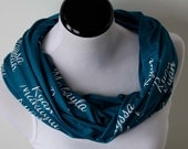 Valentine's Day Gift for Grandmother, Grandchildren Name Scarf, Grandmother Scarf Gift