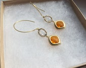 Fall Flames- Clear and Fireopal Gold Stone Circle Wire Earrings