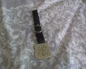 Antique Monagram E Metal Leather Watch Fob