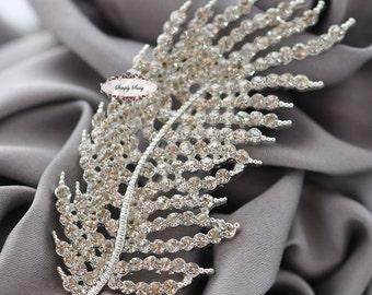 Rhinestone Brooch Embellishment - Flatback - Rhinestone Broach - Brooch Bouquet - Supply - Leaf - Wedding Jewelry Supply - RD314