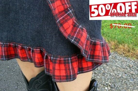 Dark Denim Wrap and Snap Skirt with Red Plaid Ruffle    Originally priced at 70.00   ON SALE