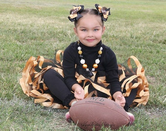 Pittsburgh Steelers Girl Tutu/Black and Gold Tutu/Ribbon Trimmed Tutu/Tulle Skirt/Ribbon Tutu/Toddler Tutu Skirt/Football Tutu/Baby Tutu