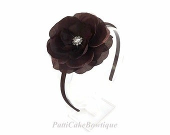 Brown Flower Headband/Wedding Hairband for Flower Girl/Toddler Headbands/Hard Headbands/Thanksgiving Head Band/Brown Headband/Fall Headbands