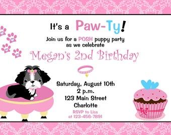 Posh Puppy Birthday Party Invitation -- puppy birthday party -- puppy invitation
