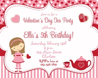 Valentines Day Tea Party  Birthday Invitation  Birthday Tea Party Valentines day tea