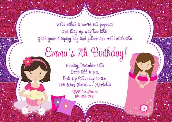 Gut bekannt sommeil d'invitation anniversaire party parti pyjama UJ18