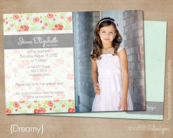lds baptism invitation, girl baptism invitation, printable baptism announcement - digital baptism invitation - Dreamy