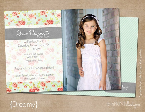 Lds Baptism Invitation Girl Baptism Invitation Printable Etsy