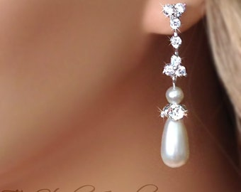 Teardrop Pearl Chandelier Bridal Earrings - MARISSA Earings