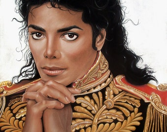 Michael Jackson Print - Realistic Pastel Drawing - 18x24 - Military Jacket - Fine Art - Celebrity Portrait - Original art