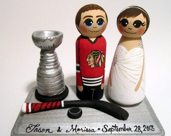 Wedding Cake Topper / Hockey Player / Custom Painted Wood Peg Dolls with Plaque and Gear
