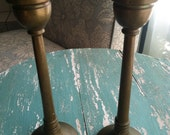 Vintage Solid Brass Candlesticks Set of 2