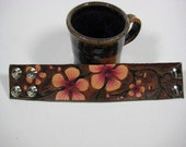 Tooled Leather Cuff Cherry Blossom