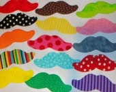 15 Assorted Rainbow Colors Iron On Applique Mustaches..For Girl Project/Shirts/Quilts...MUSTACHE. Girls Like Mustaches Too