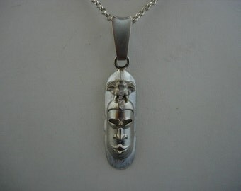 Silver African mask pendant and chain
