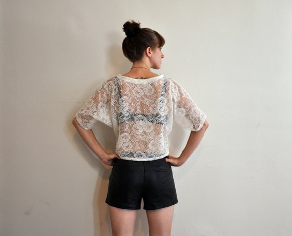 Lace Back Pullover T-shirt with Dolman Sleeves - Ivory or Black