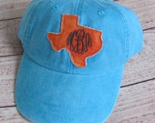 Texas Monogrammed Baseball Cap Personalized Hat Bridesmaid Birthday Gift