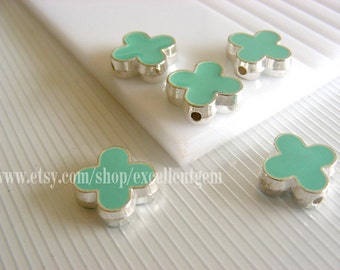 Silver plated Double-sided Metal Clover Connector beads in Mint color- 15mm