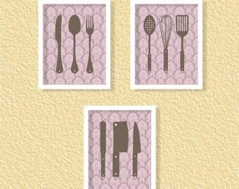 Kitchen Cutlery Kitchen Wall Art Printables - Purple Damask - Set of 3-8x10 - Instant Download Digital Printable Poster Kitchen Decor