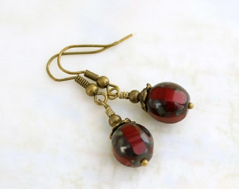 Red Big Top Circus Earrings - Dark Red Earrings - faceted Czech glass beads with a Picasso finish