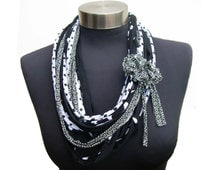 African style black&white women scarf necklace-Infinity womens scarves-loop scarf-eco friendly recycled fabric-ethnic tribal pattern jewelry