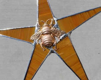 Queen Bee Honey Star- 9 inch streaky amber stained glass with brass bee