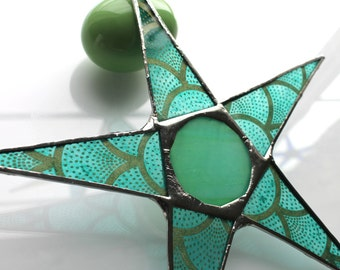 Spotted & Stacked Eggs Star- 9 inch lacquered paper on glass star with art glass center