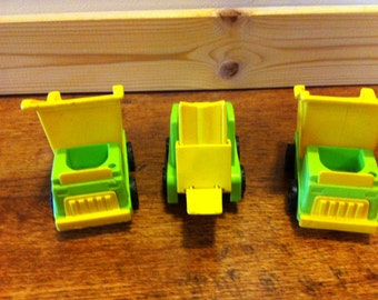 Set of 3 Vintage Fisher Price Construction Vehicles