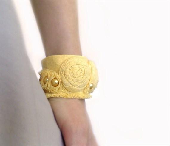 Rolled Rosettes Yellow Wrist Cuff Bracelet