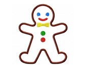 "Gingerbread Man Applique Machine Embroidery Design Pattern in 4 sizes 4"", 5"", 6"" and 7"""