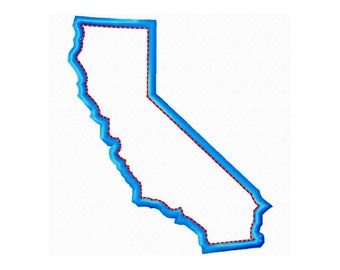 "California State Map Machine Embroidery Design Applique Pattern in 4 sizes 3"", 4"", 5"" and 6"""