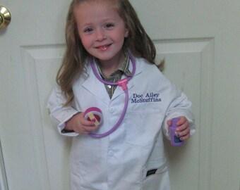 Doc McStuffins Inspired White Lab Coat Personalized w/Child's Monogram/Costume/Dress-Up/Party/Gift/Dr. Coat/Vet Lab Coat