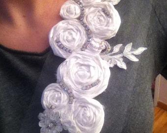 Bridal Magnetic Brooch White Silk Dupioni with trailing Rhinestones
