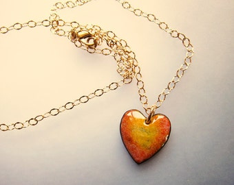 Gold sweetheart pendant necklace Enamel gold heart necklace Gift for her Unique enamel jewelry Gold chain