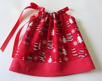 Baby Girls 1st Christmas Dress - Whimsical Christmas Trees and Polka Dots - Red and White Christmas Dress - Size Newborn, 3m, 6m, 9m, or 12m