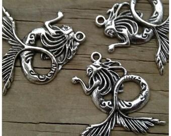 3 Large Mermaid Pendants in Oxidized Silver, Beach Pendants, Mermaid Jewelry