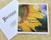 Be Happy - art, nature, sunflower, blank card, inspirational quote, autumn photography, brokeh, famous quotes, fine art cards
