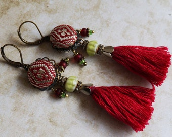 red diamond sari silk brocade tassel earrings