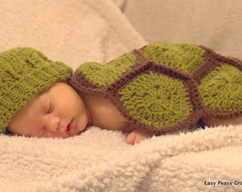 CROCHET PATTERN - turtle, shell, hat, beanie, baby, photo, prop, blanket, PDF file