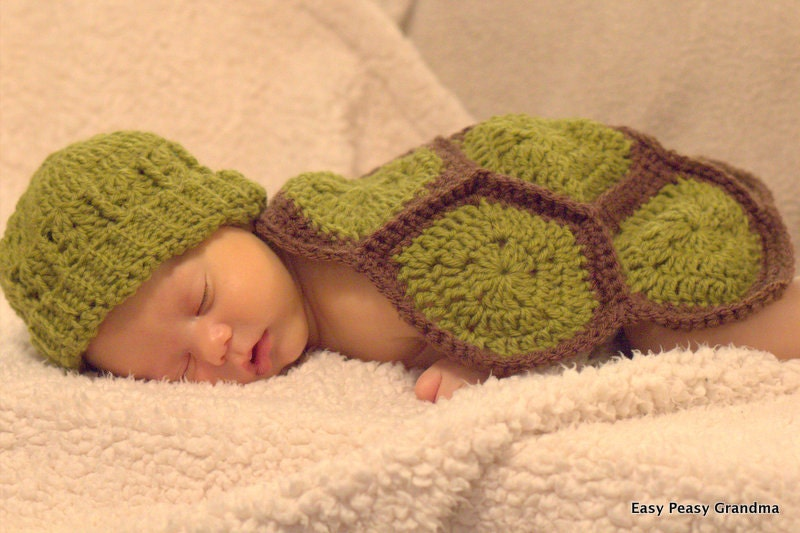 Crochet Baby Turtle Hat And Shell Pattern Free : CROCHET PATTERN turtle shell hat beanie baby by ...