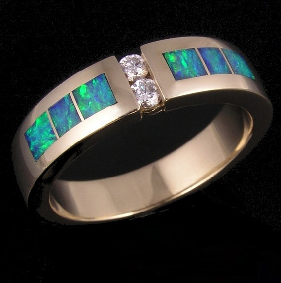 Australian opal and diamond man39s wedding ring for Australian wedding rings