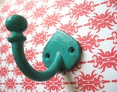 1 Teardrop Wall Hooks Small Brass Coat Hanger Towel Hook Custom Hardware Hook Pictured in Turquoise Blue with Light Antiquing H-12