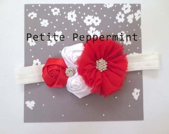 Baby headband, baby girl headband, newborn headband, toddler headband - Red and White Flower Headband